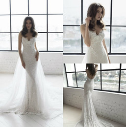 Chinese  Sexy 2018 Julie Vino Mermaid Wedding Dresses Spaghetti Backless Wedding Gowns Plus Size Beach Lace Wedding Dress manufacturers
