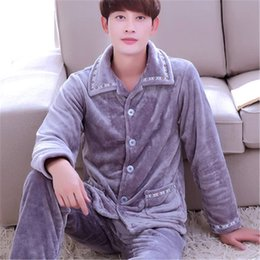 Blue flannel shirt men online shopping - Winter Spring Keep Warm Thick Coral Fleece Men Pajamas Sets of Sleep Tops Bottoms Flannel Sleepwear Thermal Nightclothes