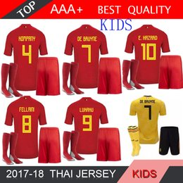 3bf67f3d0ec 2018 World Cup Belgium Kids Kits Soccer Jersey Full Sets LUKAKU FELLAINI  E.HAZARD KOMPANY DE BRUYNE Boys Child Youth football shirt Socks