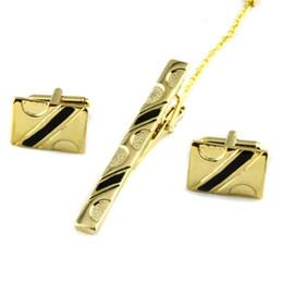Опт Роскошные мужчины галстук галстук бар Застежка галстук клип запонки и галстук клип наборы мода простой подарок запонки для свадьбы золото / серебро падение корабль