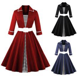 5886bd4a7d 2018 Otoño Rayas negras para mujer Vestidos de manga larga de época Más el  tamaño 4XL Cinturones Audrey Hepburn 50s 60s Vestido Rockabilly fs1897