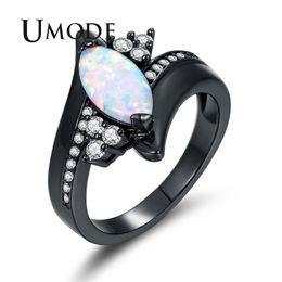 8e5b7eb28b30 UMODE Marquise Opal Ring para Mujer Zirconia Bypass Anillos Black Gun Gold Jewelry  Anillos Mujer Moda Bijoux Anel Feminino AUR0428