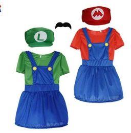 skirt stars 2019 - kids Girl's Super Mario Funny Skirt Cosplay Costume party Super Mario Luigi Brothers Dress 3pcs1 set dress+hat + be