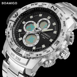 Men S Sport Clock Canada - S-men sport watches steel LED digital watch analog quartz watch BOAMIGO brand chronograph auto date 30M waterproof clock