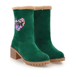 Lady Snow Boots Mid Calf Australia - Warm Woman Mid-calf Boots Ladies Platform Glitter Round Toe Autumn Winter Slip-On Martin Snow Boots Flock Leather Heart-Shaped ADF-9872
