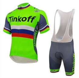 jersey cycling saxo green 2018 - new Tinkoff Saxo Cycling Jerseys Set Short Sleeve With Padded Bib None Bib Trousers Bicycle Clothes Close Fitting Three