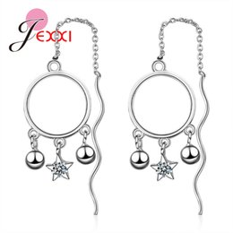 Chandelier Beads Chains Australia - JEXXI Long Chain Most Popular 925 Sterling Silver Star Beads Round Drop Earrings For Fashion Women Wedding Party Jewelry Gift