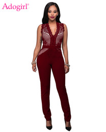 $enCountryForm.capitalKeyWord UK - Adogirl Sexy Deep V Neck Sleeveless Bandage Jumpsuit Net Lace Bodice Skinny Rompers for Women High Quality Club Wear Overalls