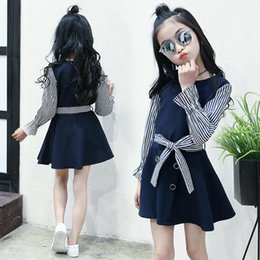 12 year dresses sleeves NZ - 3-12 Years 2017 Spring Fall Preppy Style Navy Blue Bow Striped Flare Long Sleeve Kids Girls Dress School Dresses for Girl JW1787