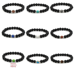 Discount elastic beaded bracelets wholesale - 10 colors Natural Black Lava Stone Beads Elastic Bracelet Essential Oil Diffuser Bracelet Volcanic Rock Beaded Hand Stri