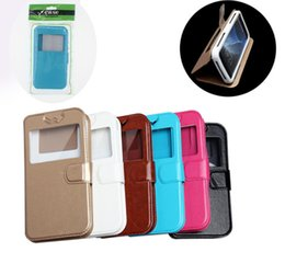 Leather window cases for s4 online shopping - For Samsung S3 S4 S5 S6 S7 IPhone inch Plus Open Window Leather Universal Wallet Cases kickstand Flip Cover with Retail Package