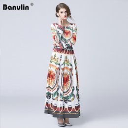 2b8eb6690a Huge savings for Runway O Neck Print Maxi Dress. 1 3. Banulin High Quality  New 2018 Fashion Designer Runway Maxi Dress Long Sleeve Women s ...
