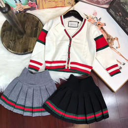 TwinseT cloThing woman online shopping - Two Piece baby kids clothing Set Skirt Children Korean Sweater Suit Child Suit Men And Women Children Long Sleeve Leisure Time Twinset