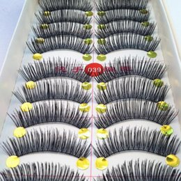 $enCountryForm.capitalKeyWord Canada - 40 Pairs lot Handmade Fake Eyelashes False Eyelash Natural Look Cotton Black Stalk Eye Lash For Building Makeup Fake Eyelashes