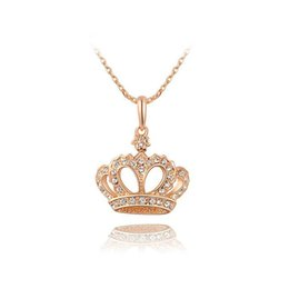 queens crown pendant Australia - Womens Necklace Charm Lady Wedding Jewelry Fashion Queen Diamond Necklace Jewelry Explosion Rose Gold Crown Creative Pendant