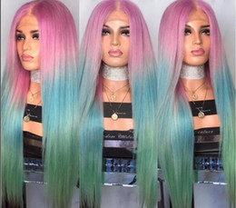 Wholesale Long Silk Straight Mermaid Rainbow Color lace Lace Front Wig Beauty Pastel Pink Purple Blue green Colorful Hue Anime Cosplay Party Wig