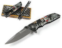 Blade print online shopping - Browning Flipper Folding Knife HRC Blade D Print Steel Handle Camping Pocket EDC Rescue Tactical Hunting Christmas Gift Knives P534R
