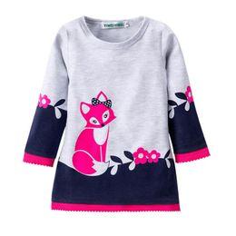 $enCountryForm.capitalKeyWord Canada - INS Kids Winter Warm Dress Fashion Girl A-line Fox Sweater Lace Dresses Knitted Long Sleeve O Neck Children Clothing Party Wear Dress 2-7Y