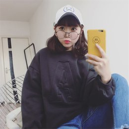 f43d06bc75f46 Cotton 2018 Korean Style Autumn Warm Women Fashion Letter A Hoodie Loose Ladies  Hoodies Long Sleeve Pullovers Casual Sweatshirt