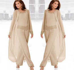 Discount blue line scoop beading dress - Champagne Three-Pieces Mother Suits With Long Jackets Long Sleeves Beaded Chiffon Mother's Pants Mother's Form