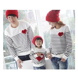 Match Clothing Mom Baby NZ - Family Matching Outfits for 3 Families Autumn Clothing Cotton Red Love Baby Mom Dad Striped Tops Long Sleeve T-Shirt White