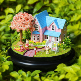 Toy Furniture Wholesale NZ - Cherry Blossom Dollhouse Wooden Doll Houses Miniature Home Assembling Dollhouse Diy Glass Ball Toys Kit totoro Figure Valentine's Day gift
