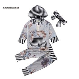 Wholesale Newborn Toddler Baby Girls Hooded Long Sleeve Tops Long Pants Headband Floral Stripes Cotton Set Clothes