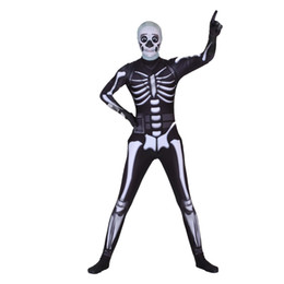 Chinese  Cosplay ghost face warrior skull trooper costumes Toddler zipper Lycra Jumpsuits Body suit mask adult Halloween horror costume men women manufacturers