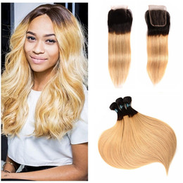 russian hair lace closure Canada - Dark Root Honey Blonde Ombre Hair With Lace Closure Black To 27 Blonde Human Russian Remy Hair 3 Bundles With Human Hair Closure