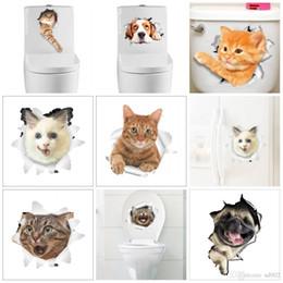 Venta al por mayor de 3D Mira Agujero Etiqueta de La Pared Creativo Gato Vivo Perro Cuaderno Pegatinas de Inodoro Para Cuarto de Baño Decoración de la Habitación Pasters Moda 1 5cz dd