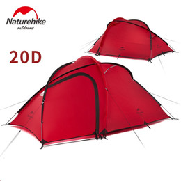 living tents 2019 - NatureHike New Hiby 3 Man Tent Outdoor 2 Room 1- 3 Person 20D Nylon Silicone Ultralight Family Camping Tent red  gray ch