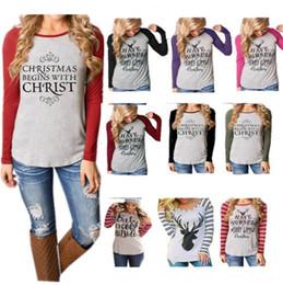 b8e7d5e1c2150 Christmas Women T-Shirt long sleeve patchwork Pullover Hoodie Xmas Elk  Santa Claus Letter Print Striped T Shirts Casual Top Plus Size Tees