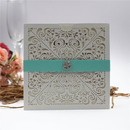 wedding invitation cards pockets Canada - Shimmy Wedding Invitations 2019 Laser Cut Flower Pocket Invitation Cards for Party with Diamond Belly Belt More Color Free Shipping Free Pri
