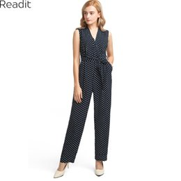 polka dots jumpsuits NZ - Readit Long Womens Jumpsuits Women Elegant Polka Dot Print Jumpsuit Ladies Sleeveless Casual Jumpsuit with Belt Overalls D2404