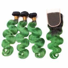 $enCountryForm.capitalKeyWord Australia - Two Tone 1B Green Ombre Body Wave Virgin Hair Bundles With Lace Closure Dark Roots Green Brazilian Human Hair Weaves With Lace Closure