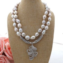 "necklaces pendants Australia - N062307 18"" 2 Strands White Keshi Pearl Necklace CZ Pendant"
