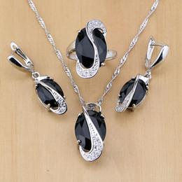 b9e614f04ea6 Toda la ventaTrendy Negro Cubic Zirconia White Birthstones 925 Sterling  Silver Jewelry Set For Women Party Pendientes   Colgante   Collar   Anillo