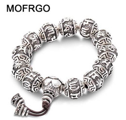 $enCountryForm.capitalKeyWord NZ - Vintage Tibetan Buddhism Brass Silver Plated Charm Rope Bracelet For Men Six Words Mantras Mala Yoga Lotus Prayer Beads Bracelet