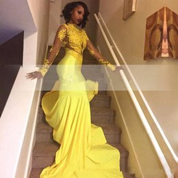 Crystal banquet online shopping - 2018 New Pretty Yellow African Lace Appliqued South African Prom Dress Mermaid Long Sleeve Banquet Evening Party Gown Custom Made Plus Size