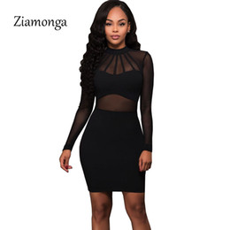 b8f5c517b7a9 Ziamonga Women Summer Bandage Dress 2017 Black Long Sleeve Mesh Sheer Tunic  Party Dresses Sexy Club Wear Bodycon Bandage Dress