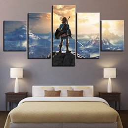 $enCountryForm.capitalKeyWord Australia - Canvas Painting Wall Art Home Decor Framework 5 Pieces Legend Zelda Game Characters Scene Modern HD Printed Landscape Pictures