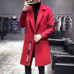 Mens Trench lungo rosso Veste Longue Homme britannico giacche di lana Mens lungo Vintage doppio collo Cappotti Slim Fit in Offerta