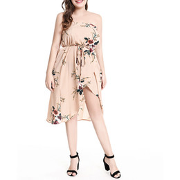 4277e8427d Oversized dresses strapless floral printed high waist elastic seaside beach  women 2019 Summer dress Vestidos WS8807y