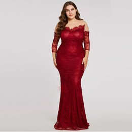 52a8a69664d Plus Size Burgundy Mermaid Full Lace Evening Dress O-Neck Long Sleeve See  Through Back Evening Wear Sweep Train Formal Gowns