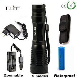 Flash Drive Charger Australia - 8000LM CREE XML T6 High Power LED Flashlight Aluminum LED Torch Zoomable Flash Light Torch Lamp+Charger+ Battery+Holster Holder