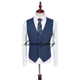 2019 Bristish Wedding Groom Vests Wool Herringbone Tweed Vests Groomsmen Vest Mens Suit Vest Prom Blazers Waistcoat Plus Size Real Image on Sale