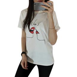 Discount women funny graphic tee - Fashion Summer Loose Tee Shirt Graphic Cute Kiss Funny T Shirt Women White Short Sleeve Print Tops Harajuku T-Shirt Ladi