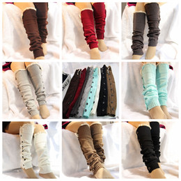 Lace decorations online shopping - Christmas Decoration Leg socks set button lace over the knee boots set woolen knit foot cover socks Party Favor GGA854