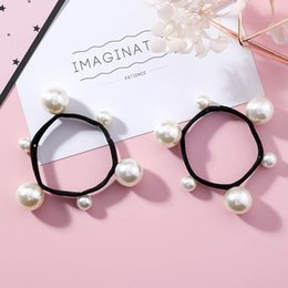 japanese hair accessories 2019 - Japanese Korean Style Simulated Pearl Elastic Rubber Hair Bands for Women Horsetail Hair Rope Ring Accessories Gift MJ16