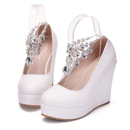 Purple Wedge Shoes Women Canada - New Crystal chain round toe shoes for women white simple heels fashion platform beading wedding shoes wedge heels Plus Size Bridal heels